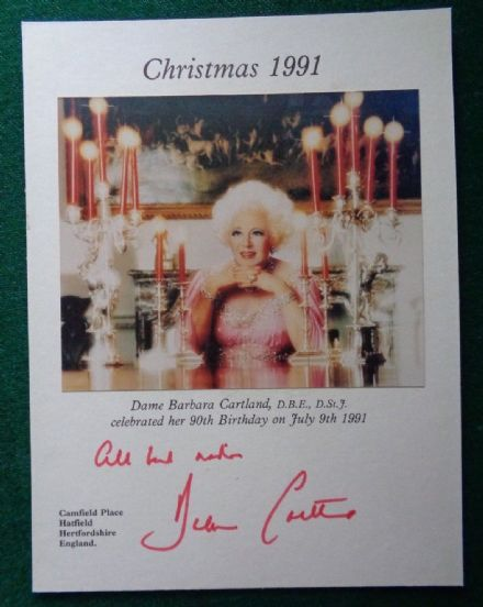 Antique Signed Christmas Card Princess Diana Grandmother Author Barbara Cartland - 1991
